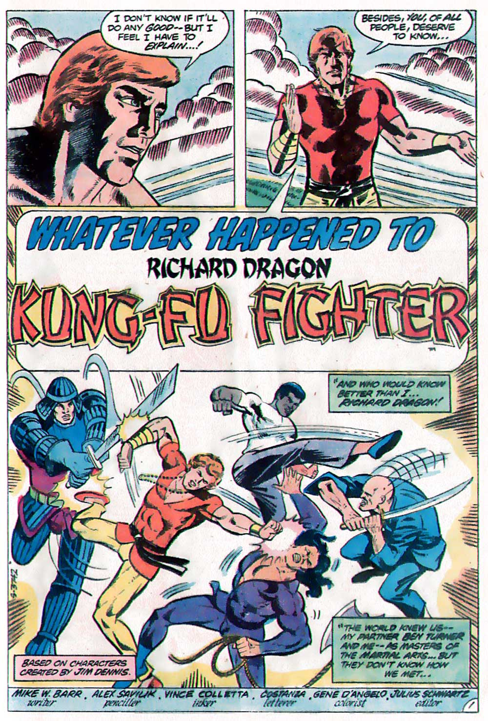 Whatever Happened To... Richard Dragon, Kung Fu Fighter! From DC Comics Presents #39, by Mike W. Barr, Alex Saviuk, and Vince Colletta.
