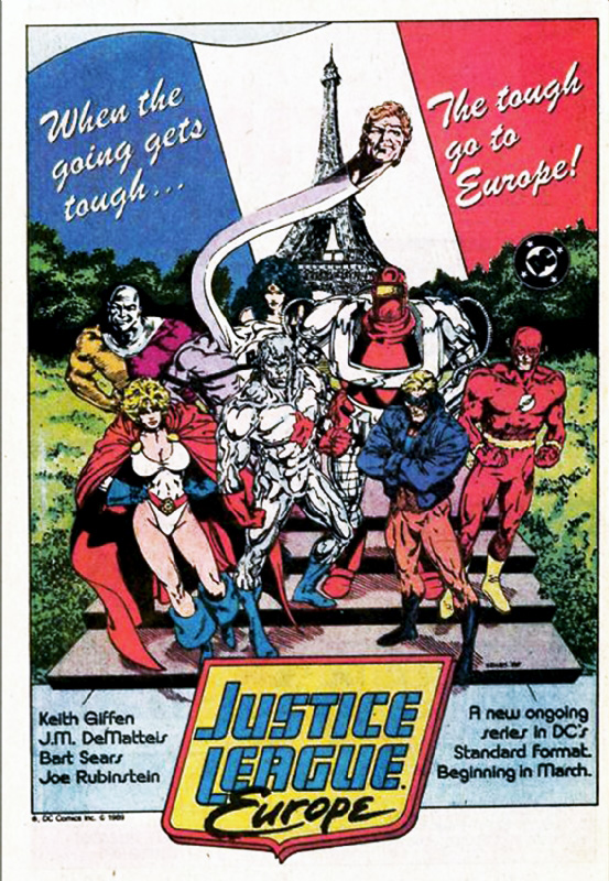 Justice League Europe in-house comic ad