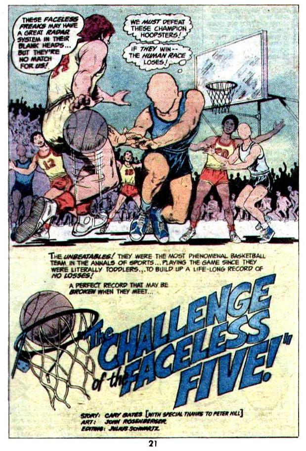"""""""The Challenge of the Faceless Five"""" (Basketball) by Cary Bates and John Rosenberger"""