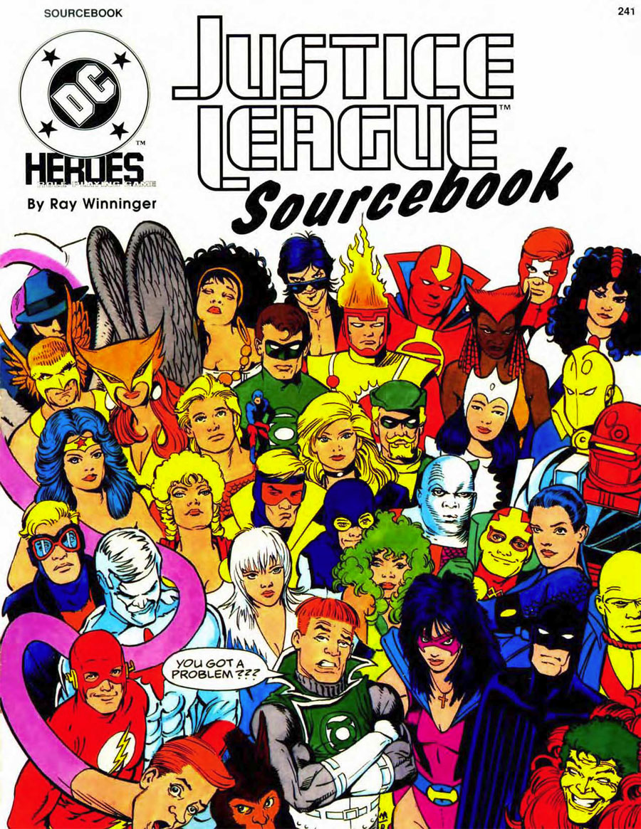 Justice League Sourcebook from Mayfair Games DC Heroes RPG - cover by Kevin Maguire
