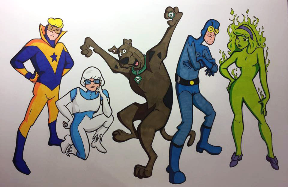 Class of 69 - Scooby-Doo and JLI mash-up by Jarrod Alberich, The Yard Sale Artist