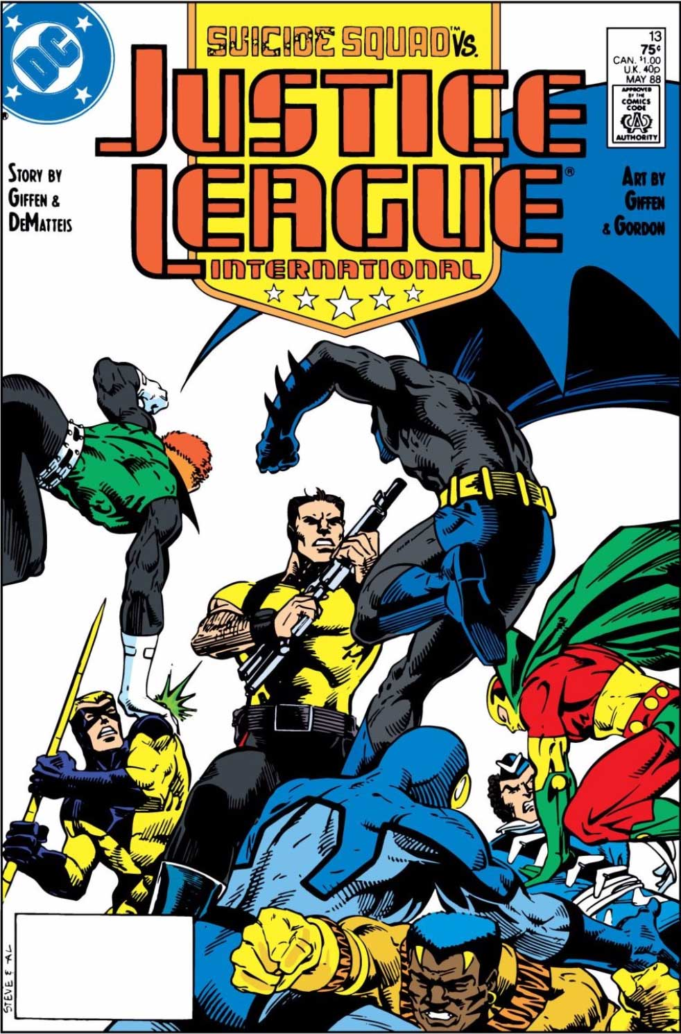 Justice League International #13 cover by Steve Leialoha and Al Gordon