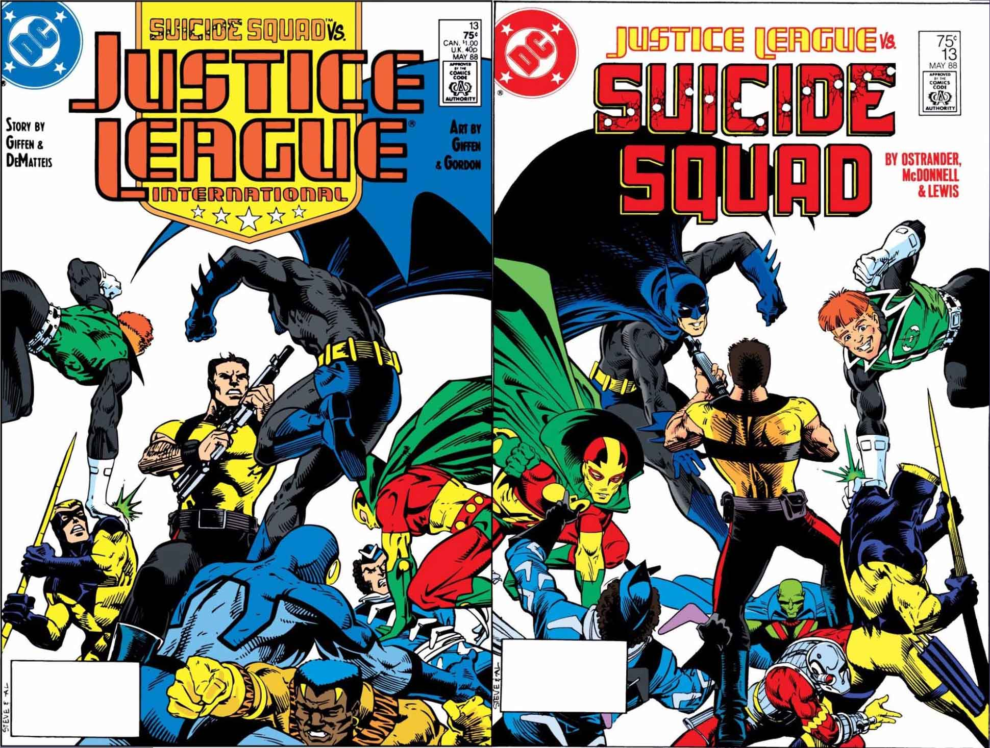 Justice League International #13 and Suicide Squad #13 covers by Steve Leialoha and Al Gordon