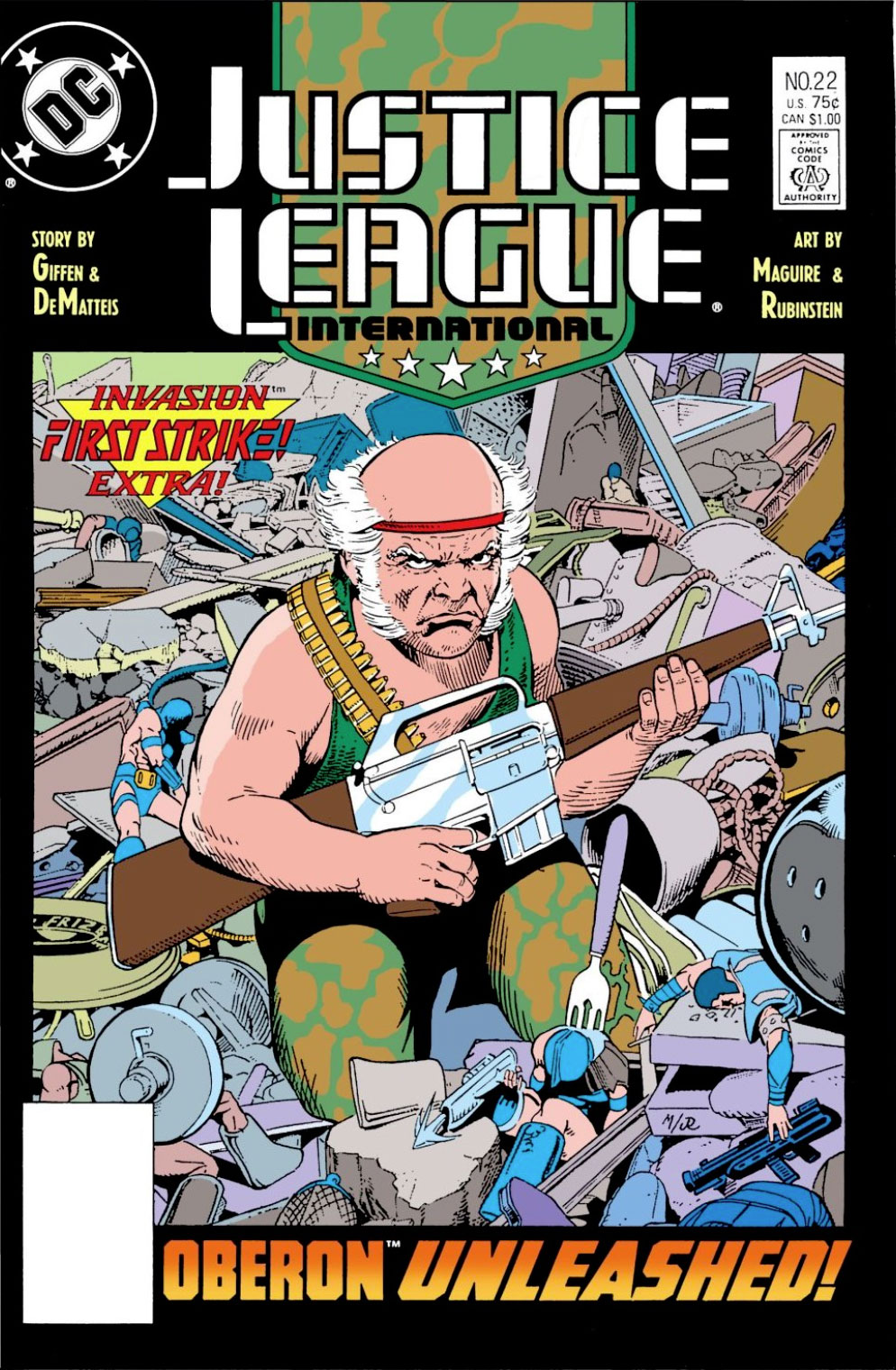 Justice League International #22 cover by Kevin Maguire and Joe Rubinstein