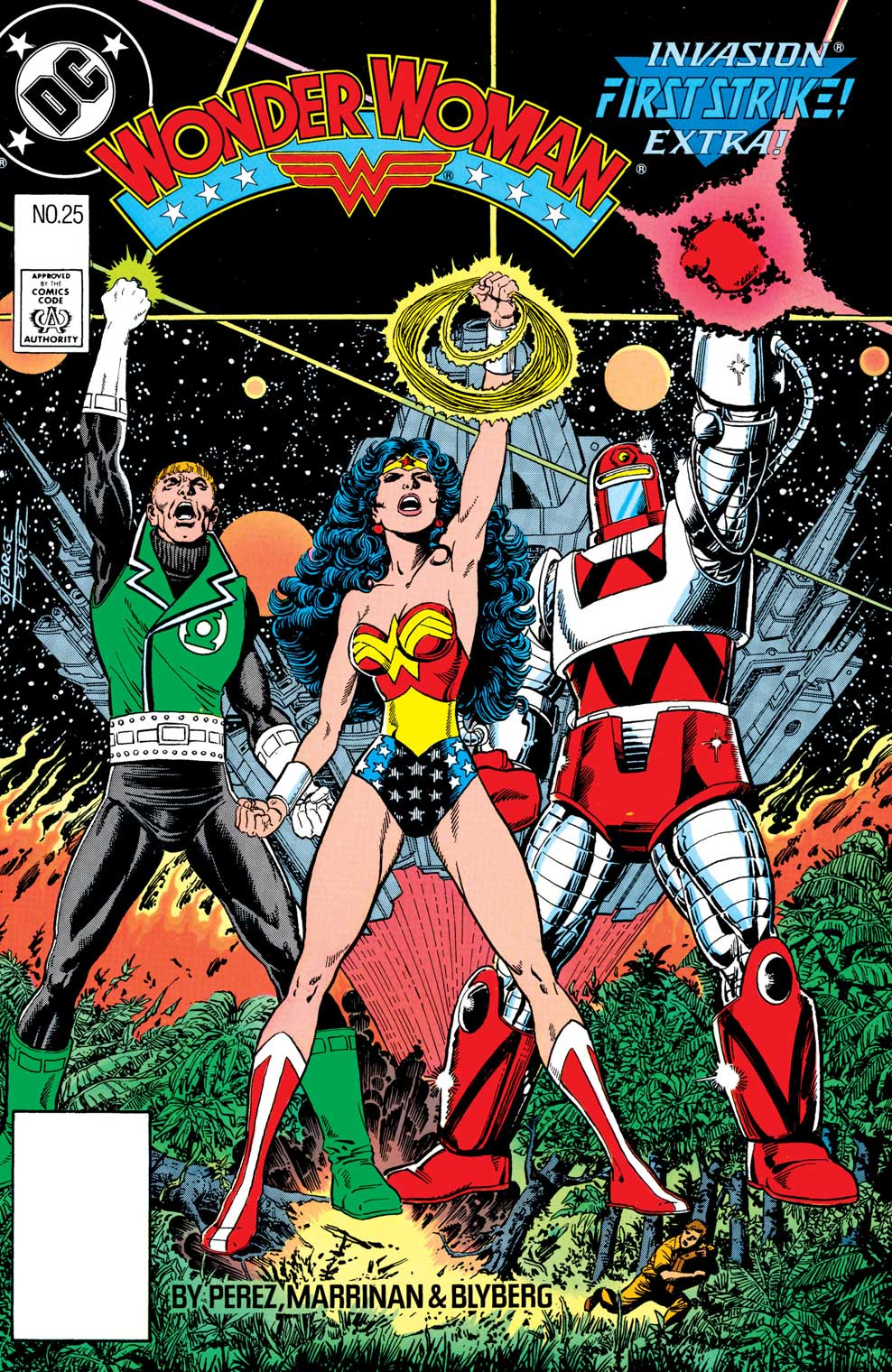Wonder Woman #25 cover by George Perez featuring Guy Gardner and Rocket Red