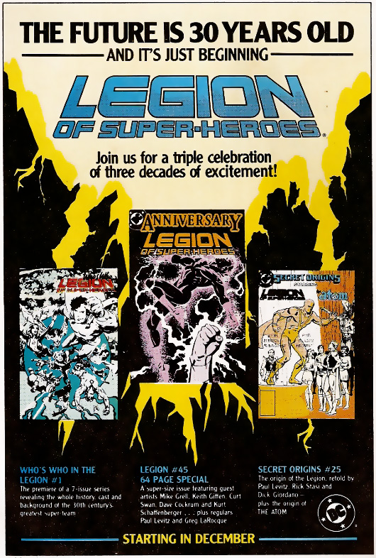 DC Comics House Ad promoting Legion of Super-Heroes 30th Anniversary