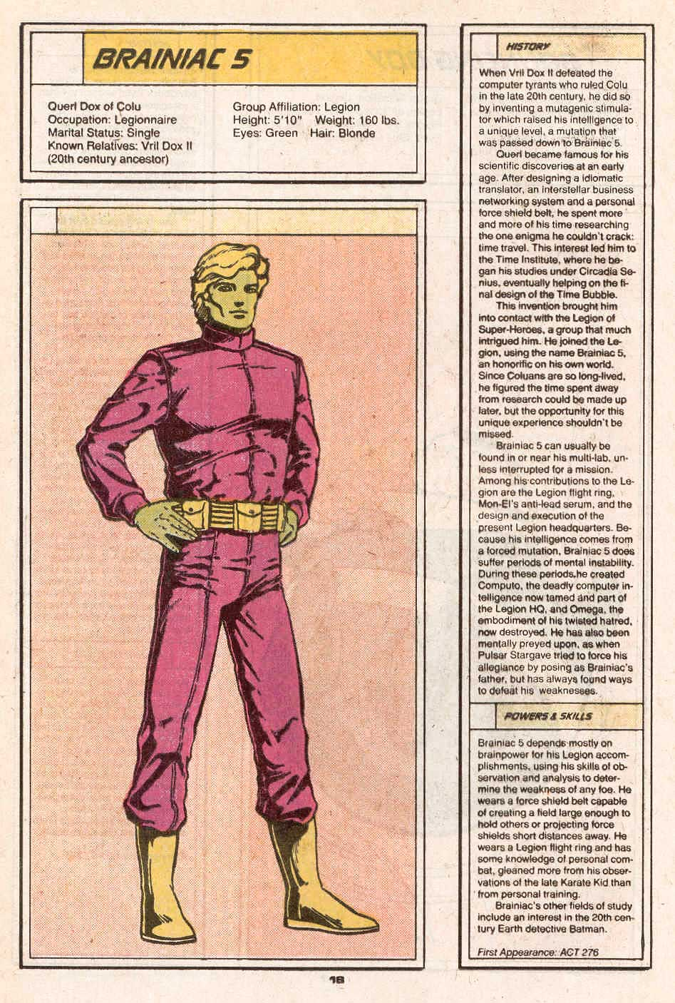 Brainiac 5 by Colleen Doran - Who's Who in the Legion of Super-Heroes #1