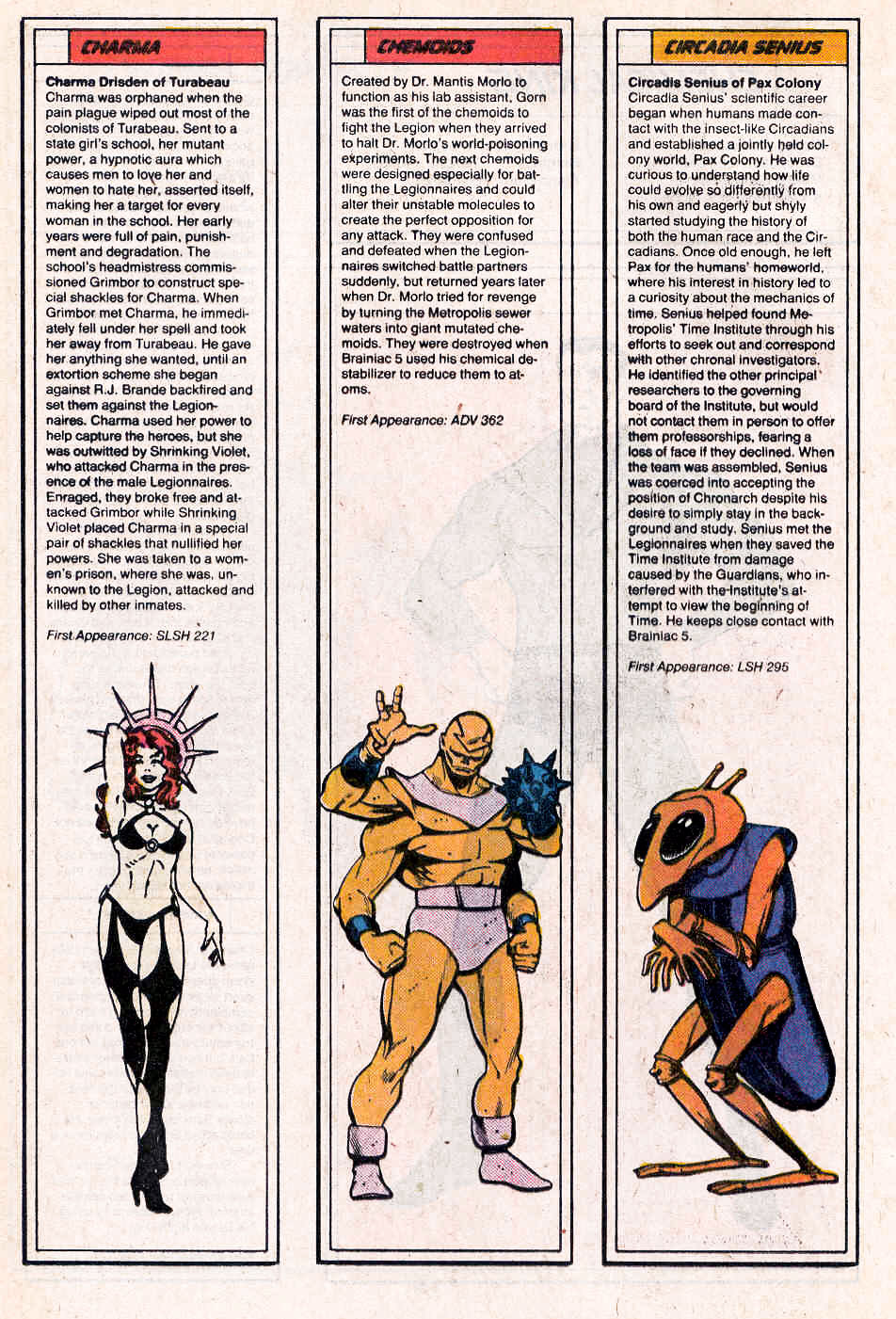 Charma by Jim Valentino & Keith Wilson, plus Chemoids & Circadia Senius by Ty Templeton - Who's Who in the Legion of Super-Heroes #1