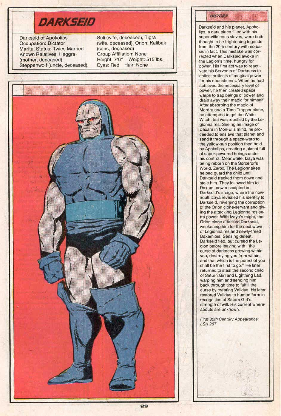 Darkseid by Keith Giffen and Grant Miehm - Who's Who in the Legion of Super-Heroes #1