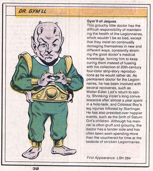 Dr Gym'll by Rick Stasi and Grant Miehm - Who's Who in the Legion of Super-Heroes #1