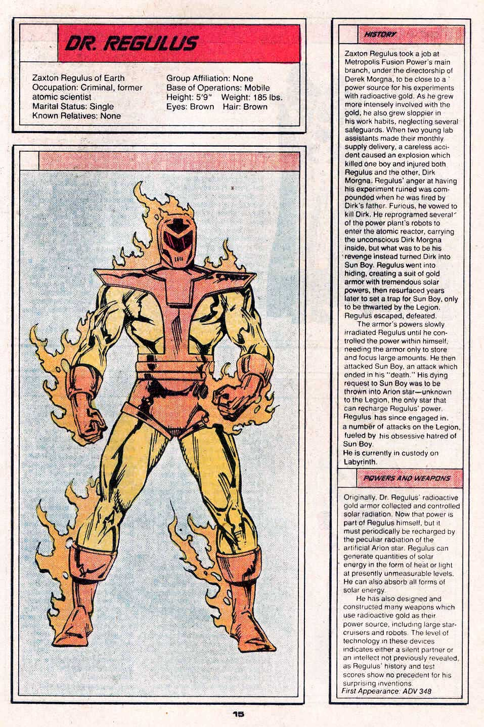 Dr Regulus by Ron Frenz and Colleen Doran - Who's Who in the Legion of Super-Heroes #2