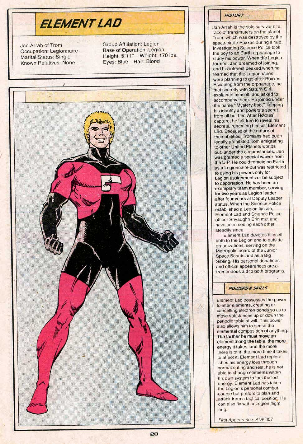 Element Lad by Ron Frenz and Colleen Doran - Who's Who in the Legion of Super-Heroes #2