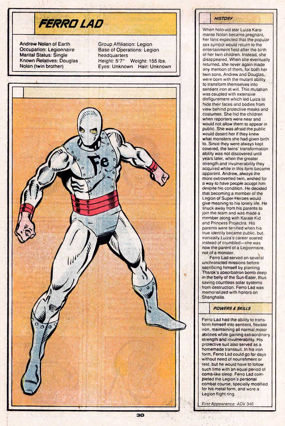 Ferro Lad by Dan Jurgens and Robert Campanella - Who's Who in the Legion of Super-Heroes #2
