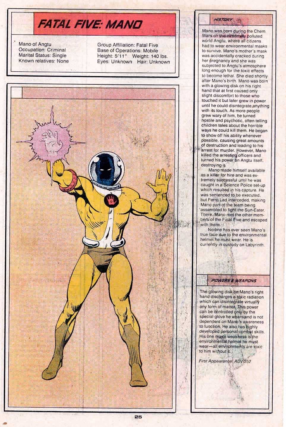Mano by Dave Gibbons - Who's Who in the Legion of Super-Heroes #2