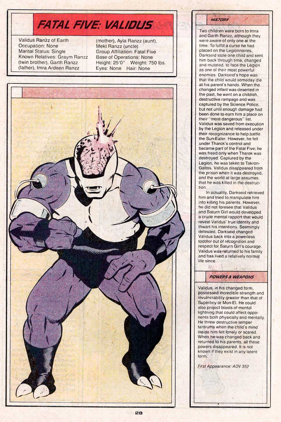Validus by Keith Giffen and Larry Mahlstedt - Who's Who in the Legion of Super-Heroes #2