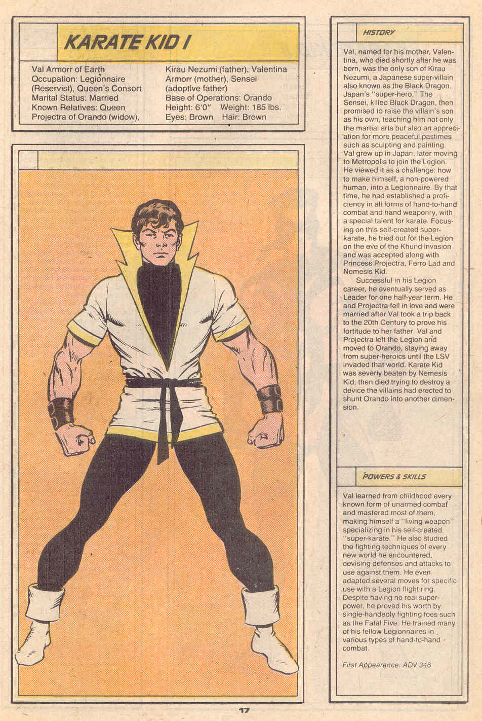 Karate Kid I by Dave Cockrum - Who's Who in the Legion of Super-Heroes #3