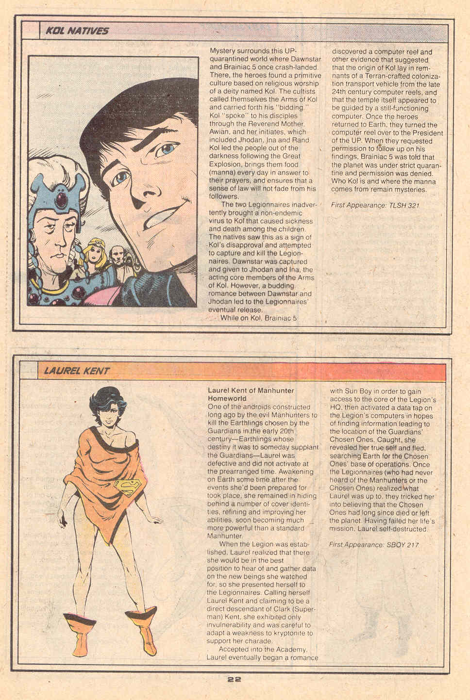 Kol Natives by Ty Templeton and Laurel Kent by Rob Liefeld - Who's Who in the Legion of Super-Heroes #3