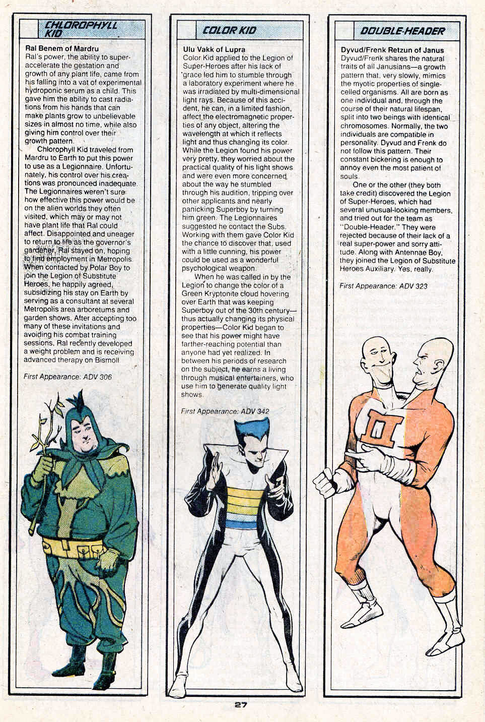 Chlorophyll Kid, Color Kid by Keith Giffen and Richard Bruning, and Double-Header by Ty Templeton - Who's Who in the Legion of Super-Heroes #3