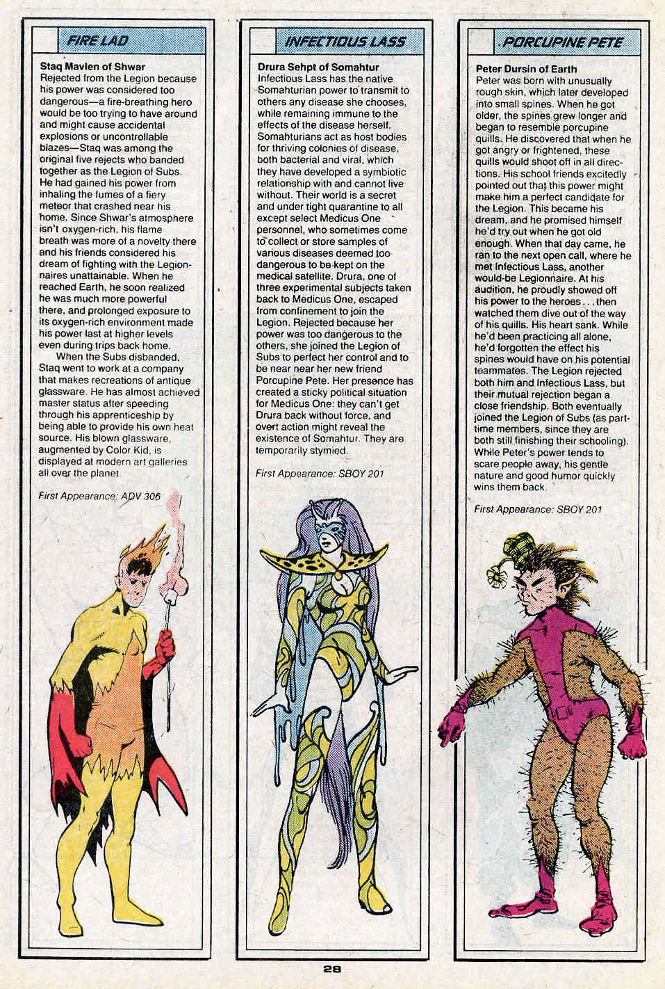 Fire Lad by Ty Templeton, Infectious Lass by Colleen Doran, and Porcupine Pete by Stephen DeStefano - Who's Who in the Legion of Super-Heroes #3