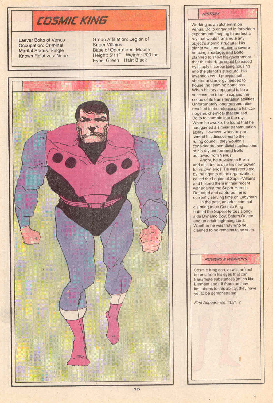 Cosmic King by Kyle Baker - Who's Who in the Legion of Super-Heroes #4