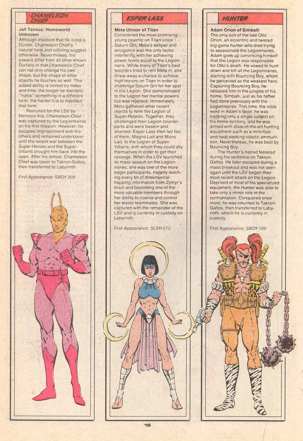 Chameleon Chief, Esper Lass and Hunter by Rob Liefeld and Al Gordon - Who's Who in the Legion of Super-Heroes #4