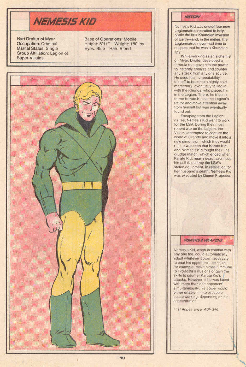 Nemesis Kid by Keith Giffen and Larry Mahlstedt - Who's Who in the Legion of Super-Heroes #4