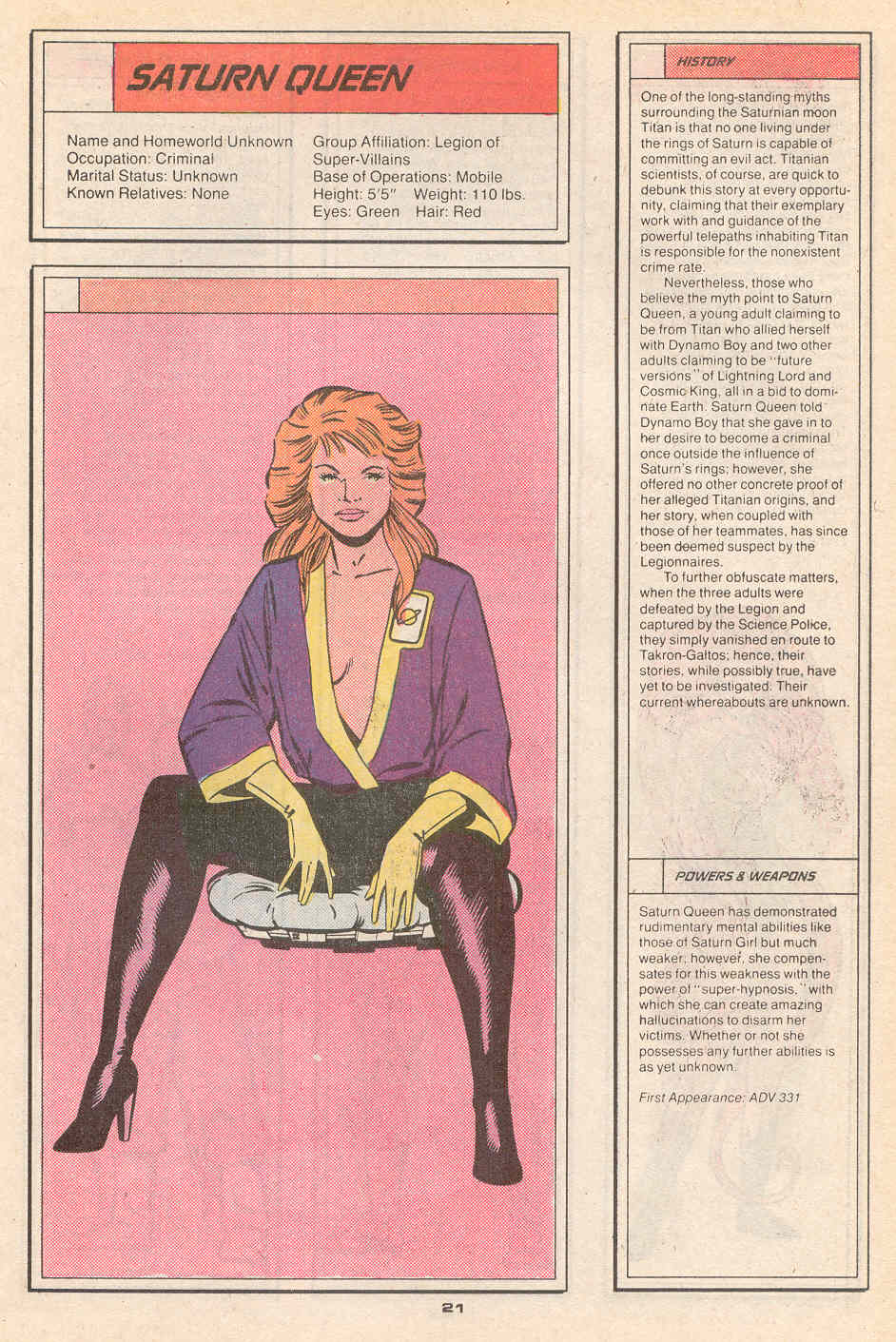Saturn Queen by Keith Giffen and Larry Mahlstedt - Who's Who in the Legion of Super-Heroes #4
