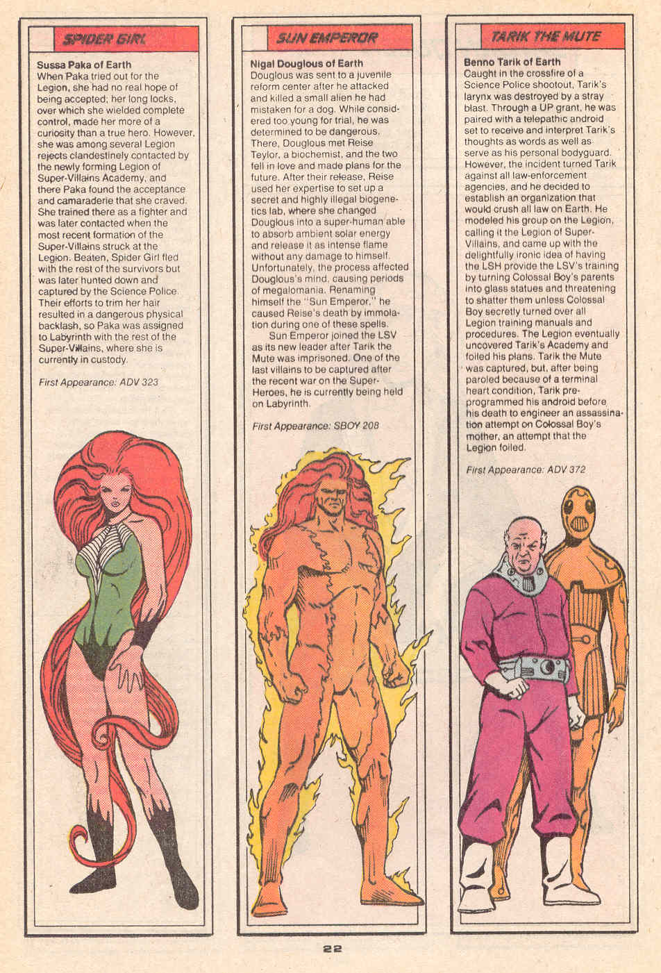 Spider-Girl, Sun Emperor, and Tarik the Mute by Colleen Doran - Who's Who in the Legion of Super-Heroes #4