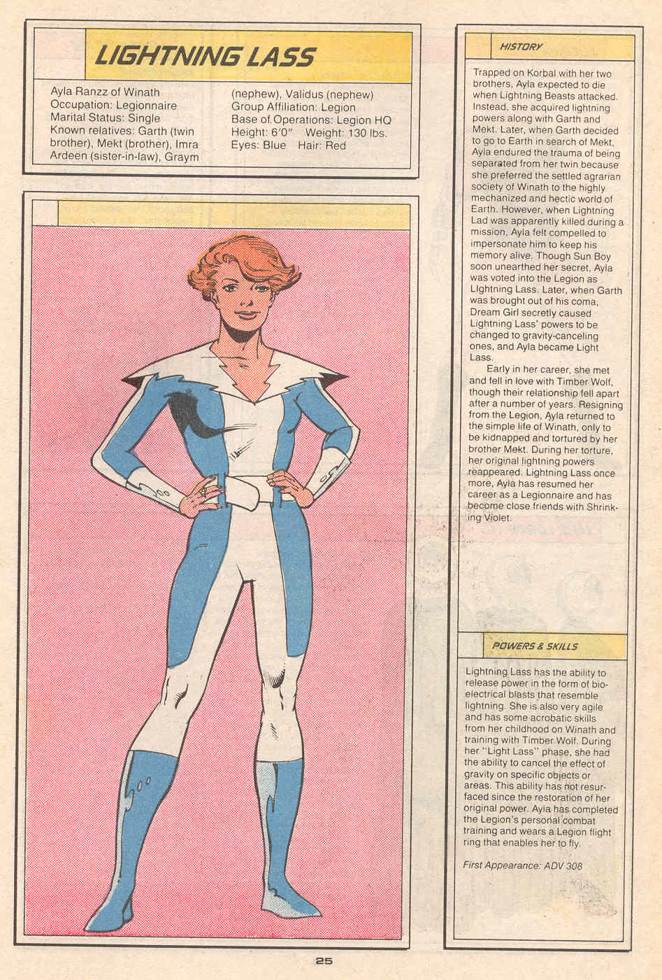 Lightning Lass by Greg LaRocque and Bob Smith - Who's Who in the Legion of Super-Heroes #4