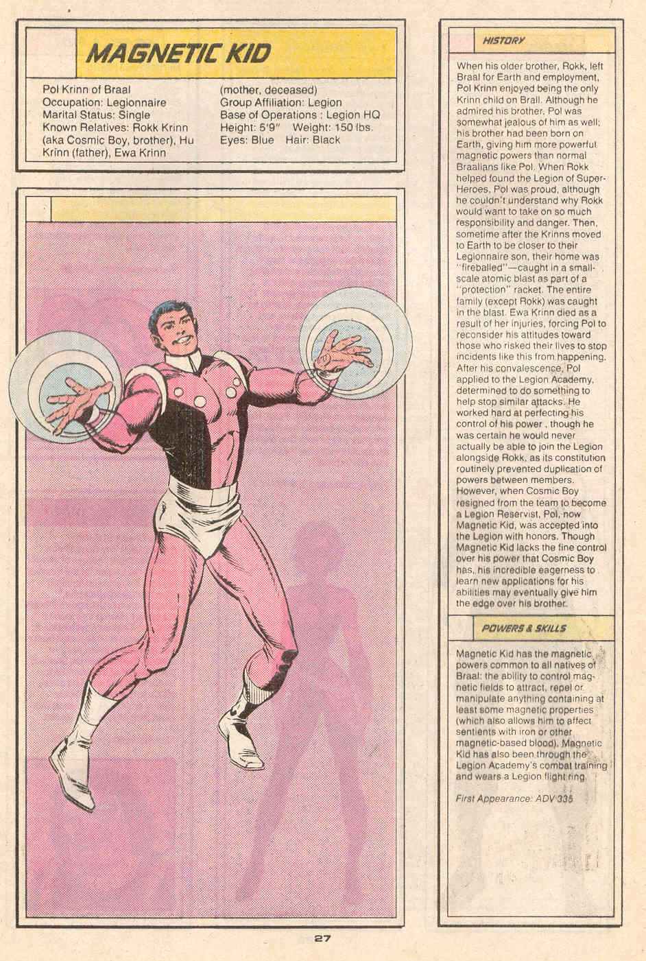 Magnetic Kid II by Richard Howell and Karl Kesel - Who's Who in the Legion of Super-Heroes #4