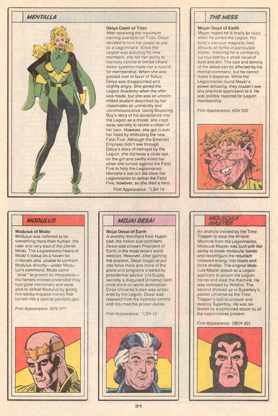 Mentalla, The Mess, Modulus, Mojai Desai, and Molecule Master by Grant Miehm and Jim Sanders III - Who's Who in the Legion of Super-Heroes #4