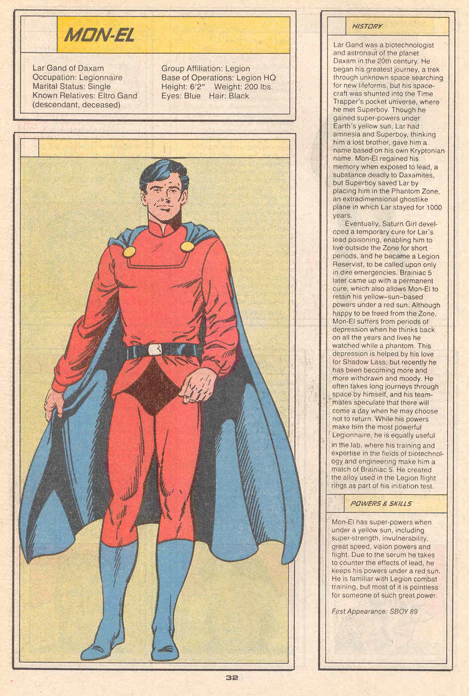 Mon-El by Curt Swan and Robert Campanella - Who's Who in the Legion of Super-Heroes #4