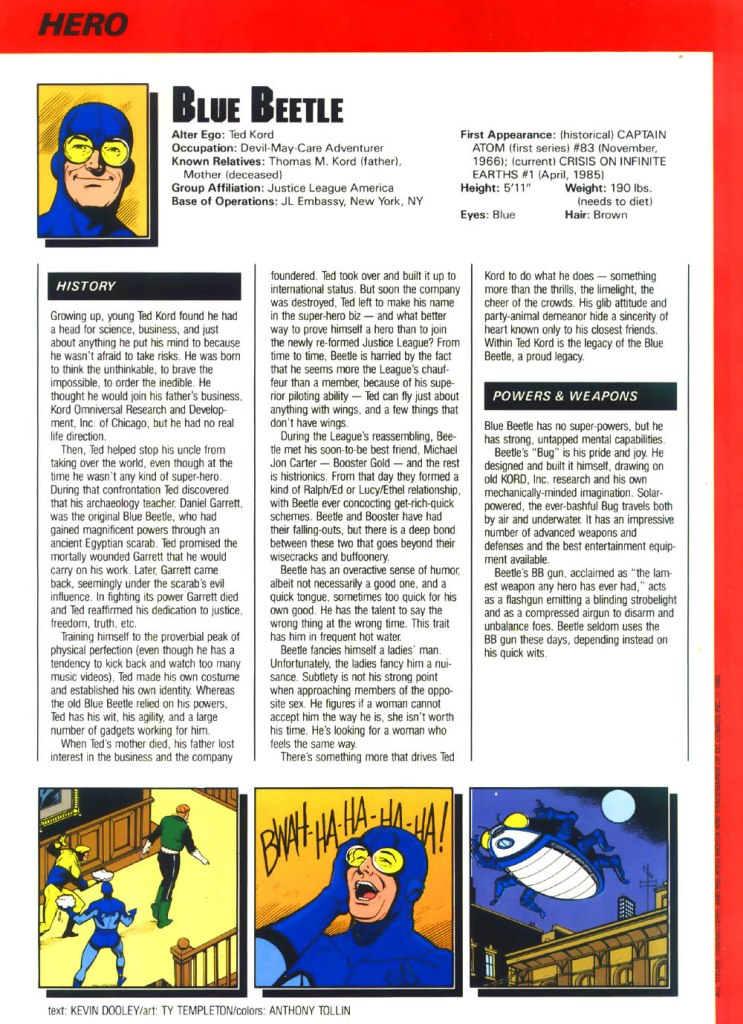 Who's Who in the DC Universe #4 - Blue Beetle text by Kevin Dooley