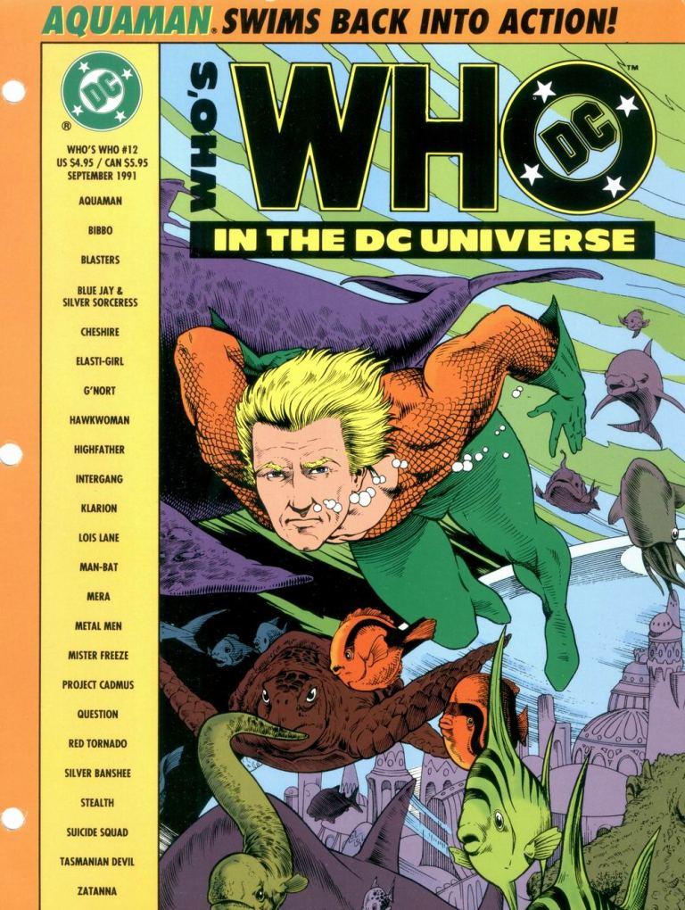 Who's Who in the DC Universe #12 cover featuring Aquaman by Ken Hooper and Bob Dvorak