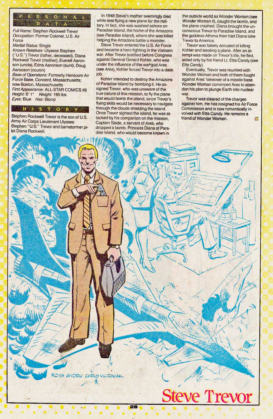 Steve Trevor by Ross Andru and Chris Wozniak - Who's Who: Update '88, vol. 4